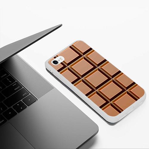 Чехол iPhone 6 Plus/6S Plus матовый Шоколад / 3D-Белый – фото 3