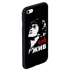 Чехол iPhone 6/6S Plus матовый Цой жив цвета 3D-черный — фото 2