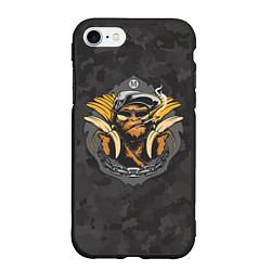 Чехол iPhone 7/8 матовый Камуфляжная обезьяна цвета 3D-черный — фото 1