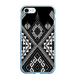 Чехол iPhone 7/8 матовый Индейские мотивы цвета 3D-голубой — фото 1