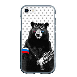 Чехол iPhone 7/8 матовый Армейский медведь цвета 3D-серый — фото 1