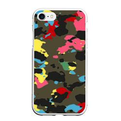 Чехол iPhone 7/8 матовый Цветной камуфляж цвета 3D-белый — фото 1