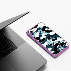 Чехол iPhone 7/8 матовый Камуфляж зимний: пятна цвета 3D-фиолетовый — фото 2
