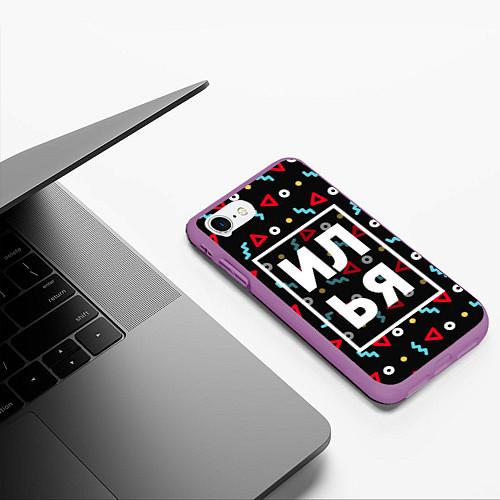 Чехол iPhone 7/8 матовый Илья / 3D-Фиолетовый – фото 3