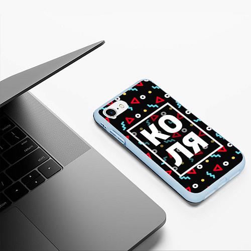 Чехол iPhone 7/8 матовый Коля / 3D-Голубой – фото 3