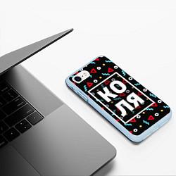 Чехол iPhone 7/8 матовый Коля цвета 3D-голубой — фото 2