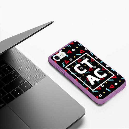Чехол iPhone 7/8 матовый Стас / 3D-Фиолетовый – фото 3