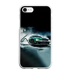 Чехол iPhone 7/8 матовый Призрачный Ford Mustang цвета 3D-белый — фото 1
