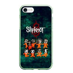 Чехол iPhone 7/8 матовый Группа Slipknot цвета 3D-салатовый — фото 1