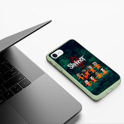Чехол iPhone 7/8 матовый Группа Slipknot цвета 3D-салатовый — фото 2