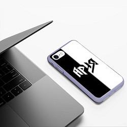 Чехол iPhone 7/8 матовый Ария Ч/Б цвета 3D-светло-сиреневый — фото 2