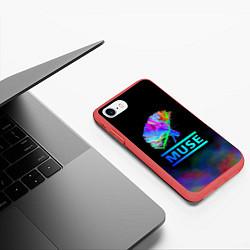 Чехол iPhone 7/8 матовый Muse: Neon Flower цвета 3D-красный — фото 2
