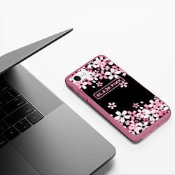 Чехол iPhone 7/8 матовый Black Pink: Pink Sakura цвета 3D-малиновый — фото 2