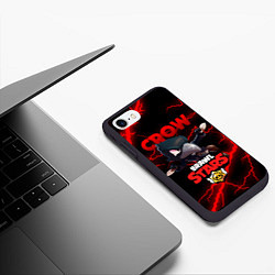 Чехол iPhone 7/8 матовый BRAWL STARS CROW цвета 3D-черный — фото 2