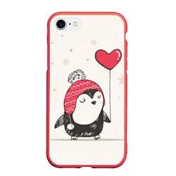 Чехол iPhone 7/8 матовый Влюбленный пингвин цвета 3D-красный — фото 1