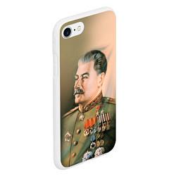 Чехол iPhone 7/8 матовый Иосиф Сталин цвета 3D-белый — фото 2