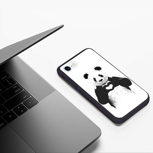 Чехол iPhone 7/8 матовый Panda Love / 3D-Черный – фото 3