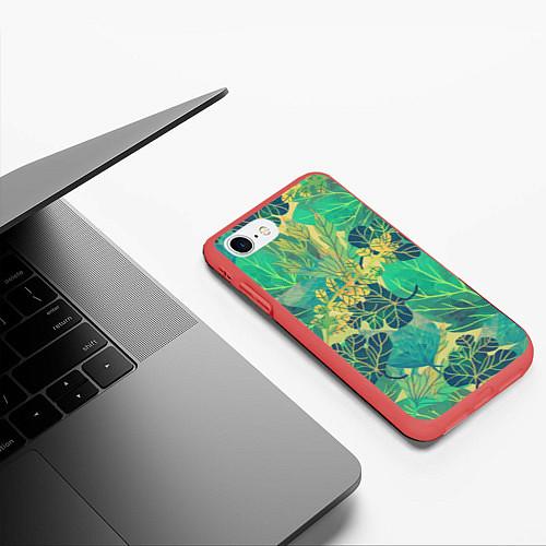 Чехол iPhone 7/8 матовый Узор из листьев / 3D-Красный – фото 3