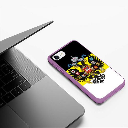 Чехол iPhone 7/8 матовый Имперский Флаг / 3D-Фиолетовый – фото 3