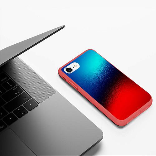Чехол iPhone 7/8 матовый Синий и красный / 3D-Красный – фото 3