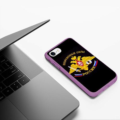 Чехол iPhone 7/8 матовый ВС России: вышивка / 3D-Фиолетовый – фото 3