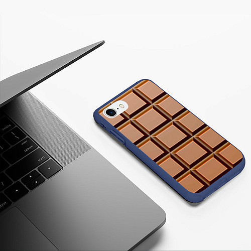 Чехол iPhone 7/8 матовый Шоколад / 3D-Тёмно-синий – фото 3