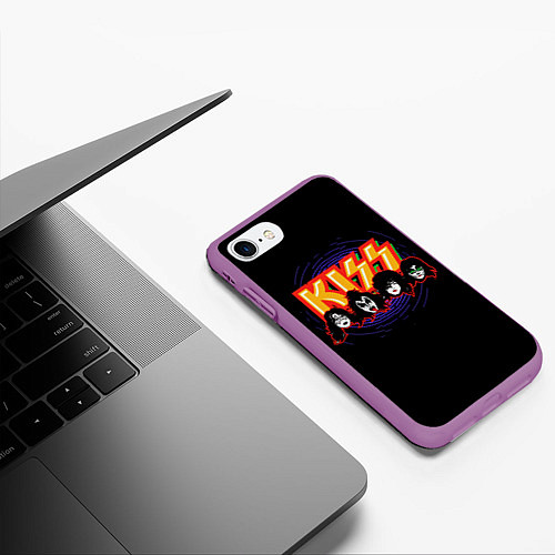 Чехол iPhone 7/8 матовый KISS: Death Faces / 3D-Фиолетовый – фото 3