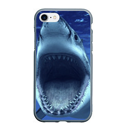 Чехол iPhone 7/8 матовый Белая акула цвета 3D-серый — фото 1