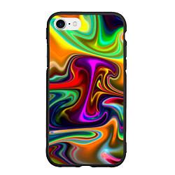 Чехол iPhone 7/8 матовый Неоновые разводы цвета 3D-черный — фото 1