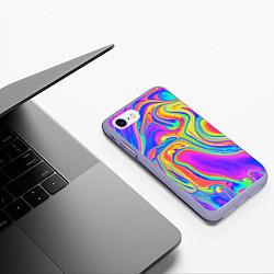 Чехол iPhone 7/8 матовый Цветные разводы цвета 3D-светло-сиреневый — фото 2