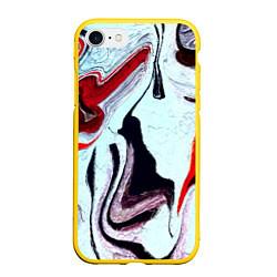 Чехол iPhone 7/8 матовый Разводы цвета 3D-желтый — фото 1