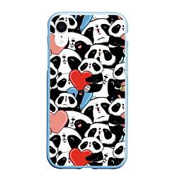 Чехол iPhone XR матовый Милые панды цвета 3D-голубой — фото 1