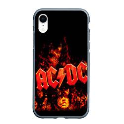 Чехол iPhone XR матовый AC/DC Flame цвета 3D-серый — фото 1