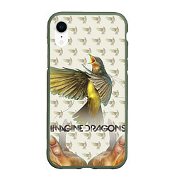 Чехол iPhone XR матовый Imagine Dragons: Fly цвета 3D-темно-зеленый — фото 1