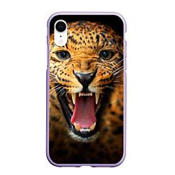 Чехол iPhone XR матовый Рык леопарда цвета 3D-светло-сиреневый — фото 1