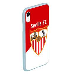 Чехол iPhone XR матовый Sevilla FC цвета 3D-голубой — фото 2
