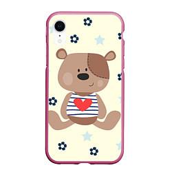 Чехол iPhone XR матовый Любовь мишки цвета 3D-малиновый — фото 1