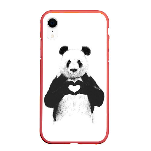 Чехол iPhone XR матовый Panda Love / 3D-Красный – фото 1