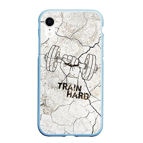 Чехол iPhone XR матовый Train hard / 3D-Голубой – фото 1