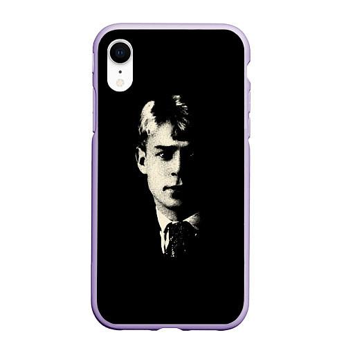 Чехол iPhone XR матовый Есенин Ч/Б / 3D-Светло-сиреневый – фото 1