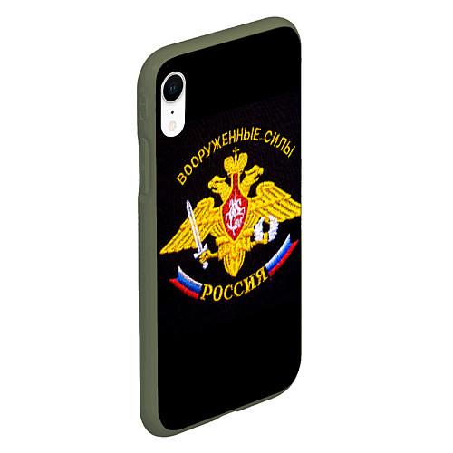 Чехол iPhone XR матовый ВС России: вышивка / 3D-Темно-зеленый – фото 2