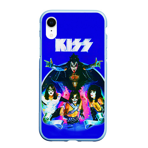 Чехол iPhone XR матовый Kiss Show / 3D-Голубой – фото 1