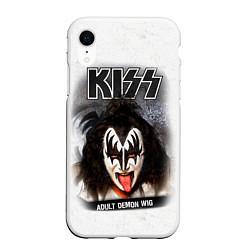 Чехол iPhone XR матовый KISS: Adult demon wig цвета 3D-белый — фото 1