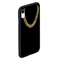 Чехол iPhone XR матовый Золотая цепь цвета 3D-черный — фото 2