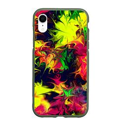 Чехол iPhone XR матовый Кислотный взрыв цвета 3D-темно-зеленый — фото 1