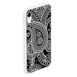 Чехол iPhone XR матовый Paisley цвета 3D-белый — фото 2