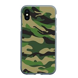 Чехол iPhone XS Max матовый Камуфляж: хаки/зеленый цвета 3D-серый — фото 1
