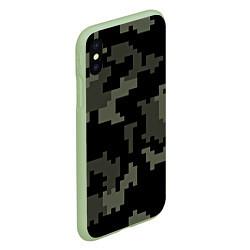 Чехол iPhone XS Max матовый Камуфляж пиксельный: черный/серый цвета 3D-салатовый — фото 2