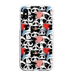Чехол iPhone XS Max матовый Funny Pandas цвета 3D-белый — фото 1