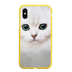 Чехол для iPhone XS Max матовый с принтом Белый котик, цвет: 3D-желтый, артикул: 10065043105907 — фото 1